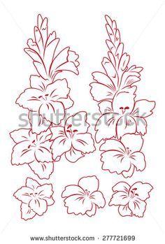 Image Result For Gladiolus Flower Outline Gladiolus Flower Flower Outline Flower Clipart