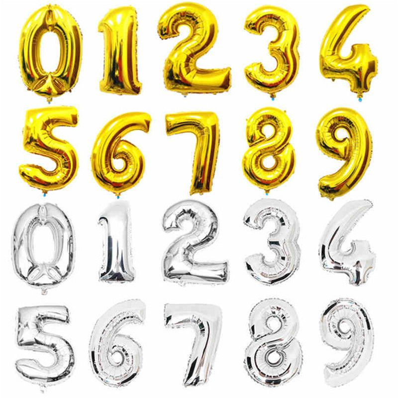 Giant Foil Balloons Number Shape Helium Wedding Birthday Party Christmas DIY 40/""