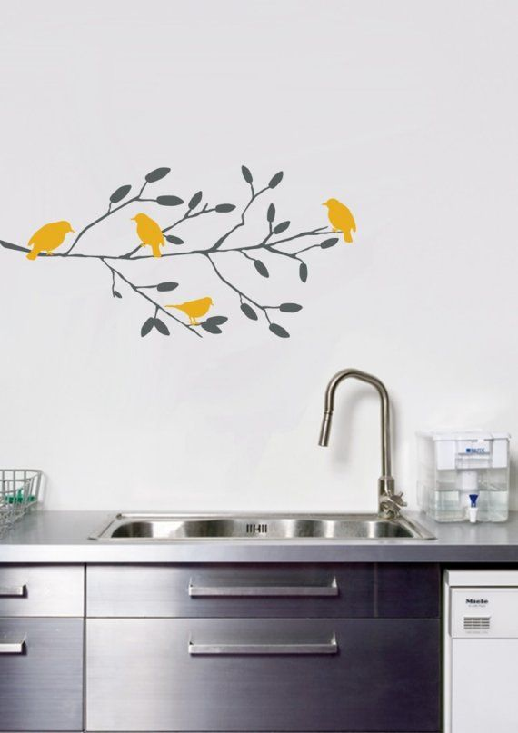 Sweet Birds On A Branch Wall Decal Pajaros Amarillos En Rama. Vinil  Decorativo Cocinas