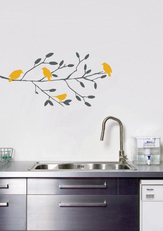 Sweet Birds On A Branch Wall Decal Pajaros Amarillos En Rama. Vinil  Decorativo Cocinas