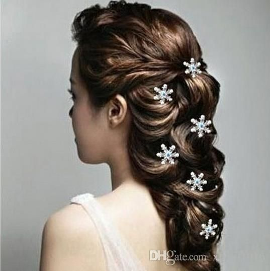 U Shaped Snowflake Frozen Bride Hairpin White Diamond Pearl Hair Clips Wedding Accessories 2 4cm