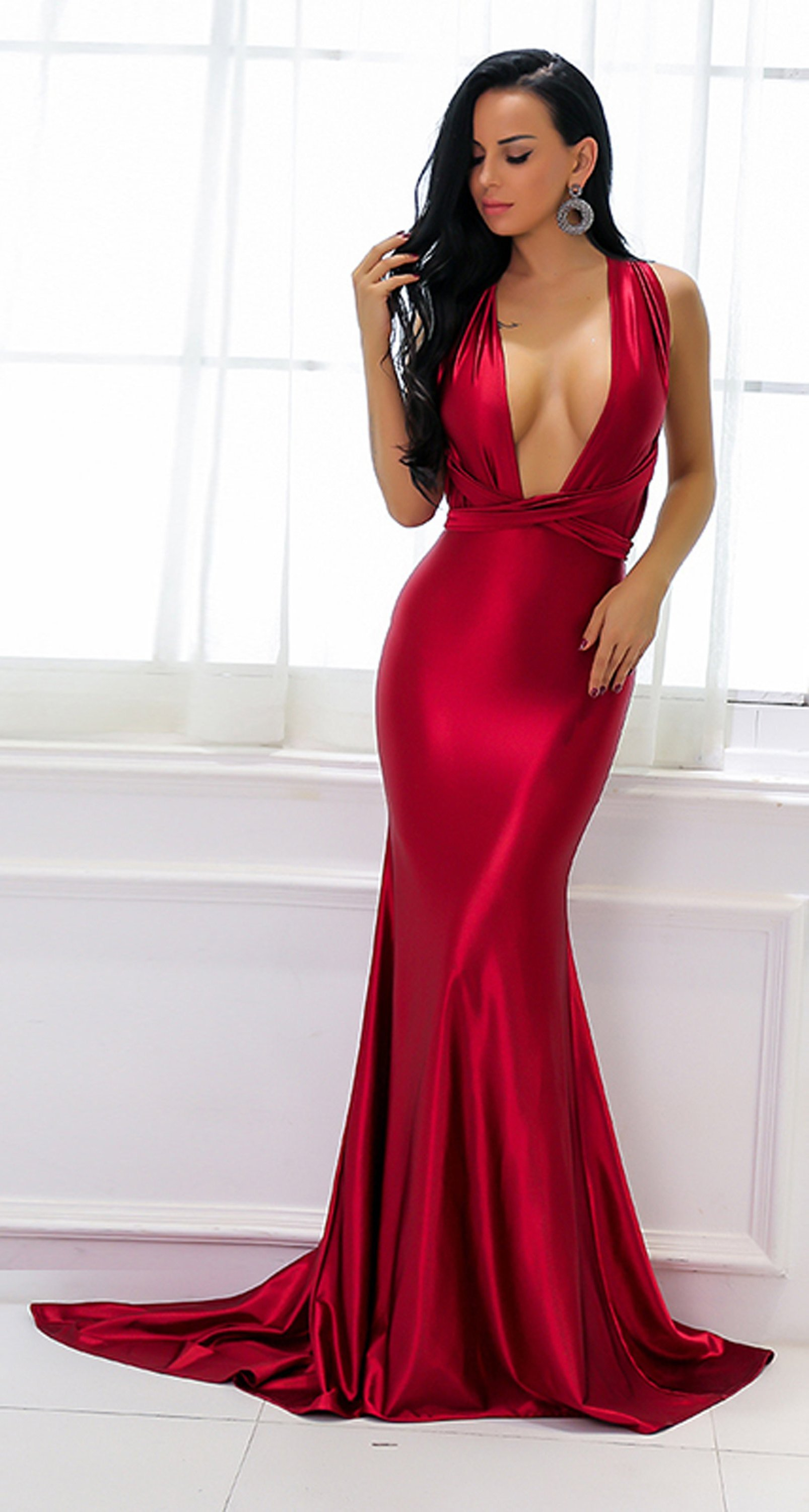 32e9cd472d7 Beautiful Red Silk Prom Dresses - Gorgeous Sparkly Satin Graduation  Homecoming Deep V Neck Plunge Backless Mermaid Gown Floor Length Dress -  Hermosos ...