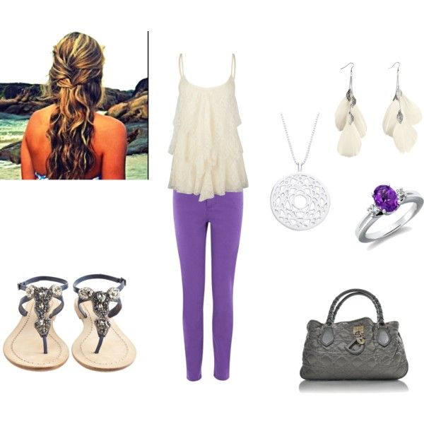 Cute curls, purple jeans, flowy top and sandals! created by erin-whitney