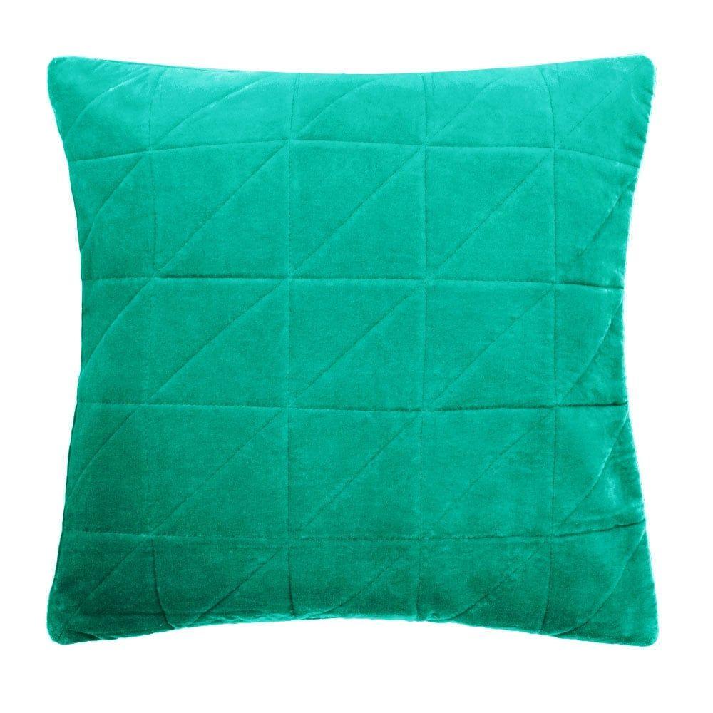 Cult living geometric quilted velvet cushion green velvet quilt