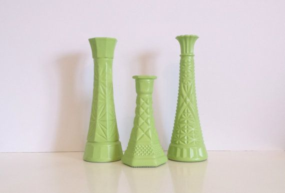 Trio of Vintage Green Glass Vases / set of 3 by CurrentClassic