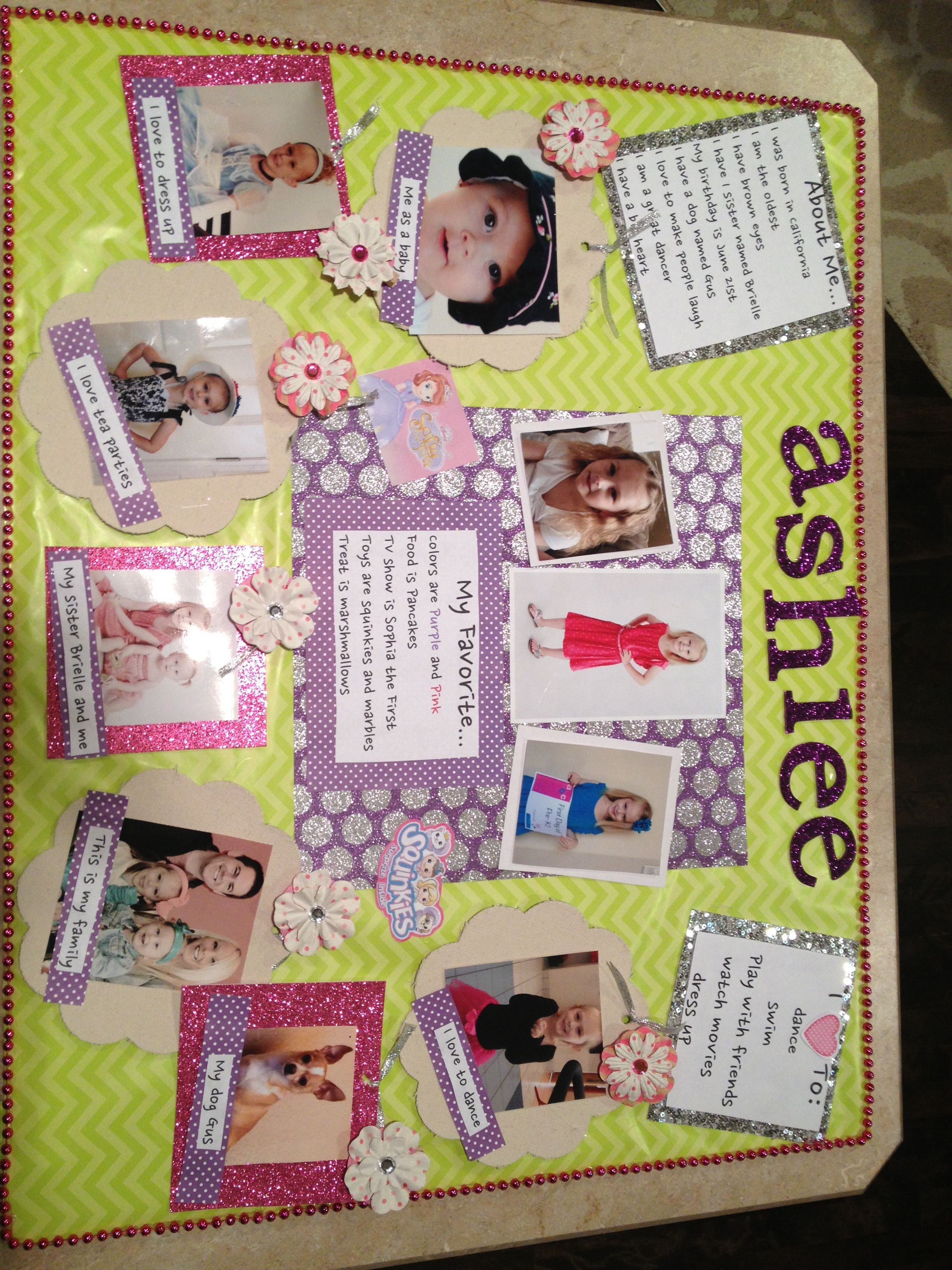 How to make scrapbook for school project - Fun All About Me Poster For School