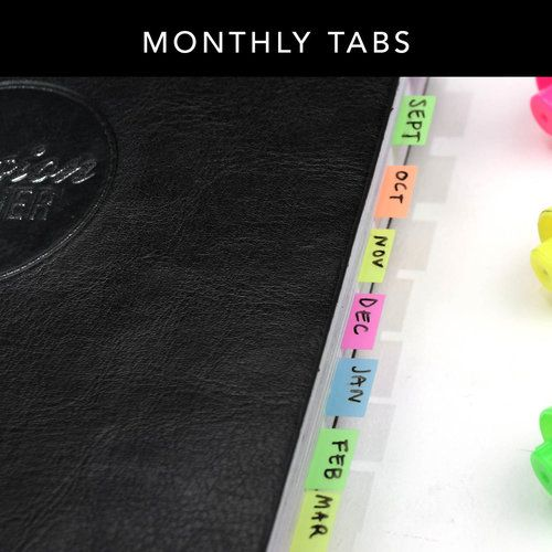 insert monthly tabs to easily flip through your passion planner