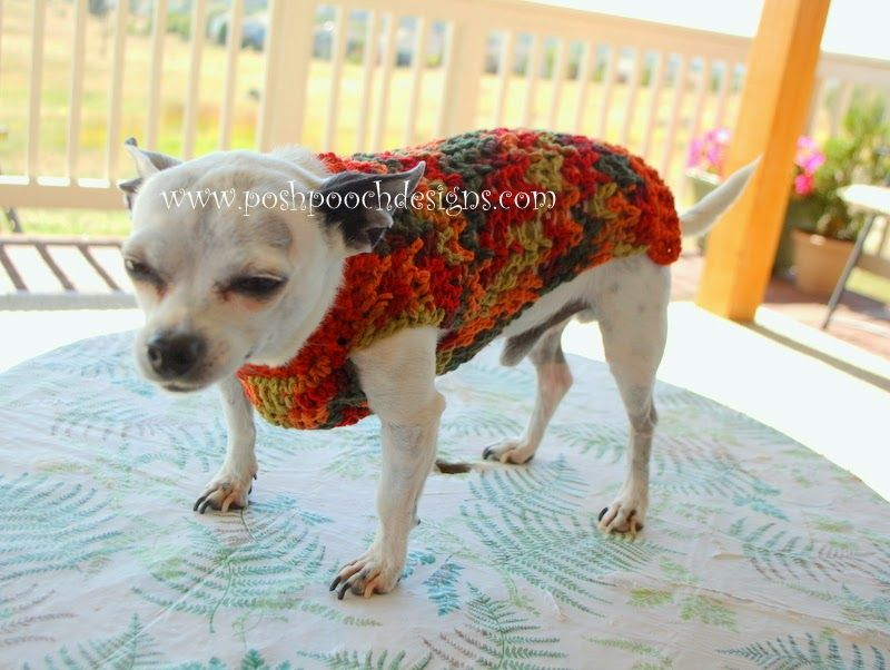 Posh Pooch Designs Dog Clothes: Fall Dog Sweater Crochet Pattern ...