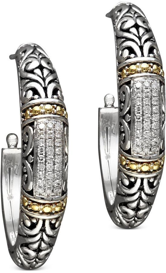 Effy Balissima By Diamond Hoop Earrings 1 4 Ct T W In 18k Gold And Sterling Silver