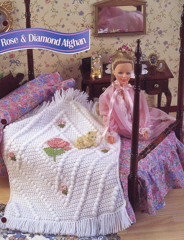 Rose /& Diamond Afghan fits Barbie Doll Crochet PATTERN//Instructions Leaflet
