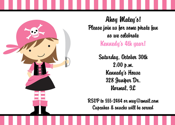 Girl Pirate Party Invitation party kids Pinterest – Kids Pirate Party Invitations