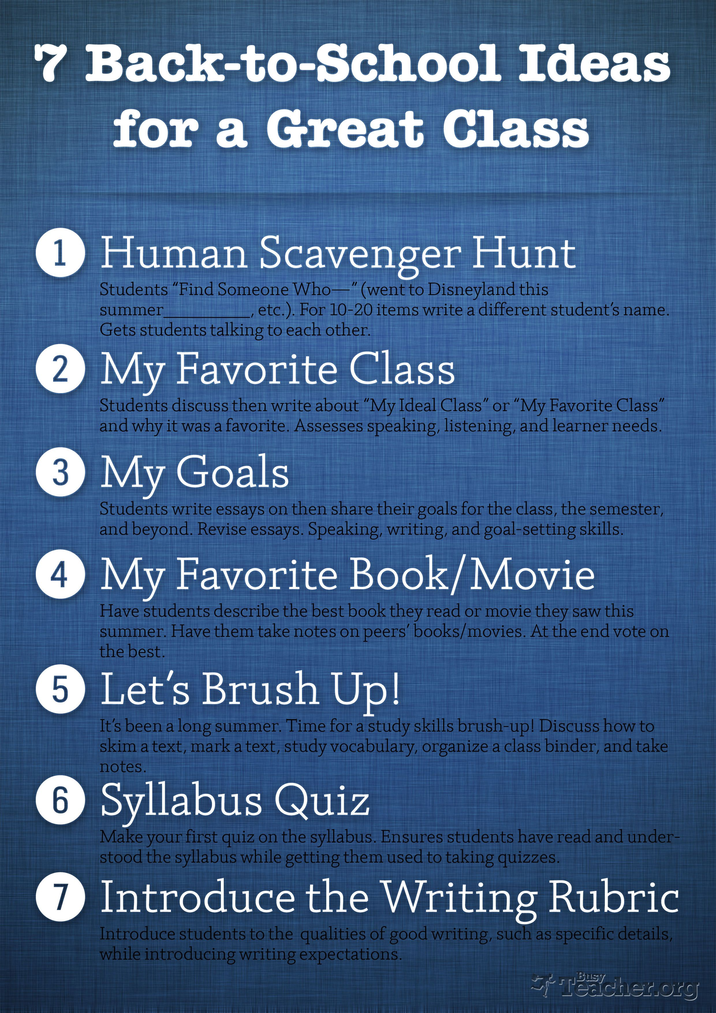 7 Back-to-School Ideas for a Great Class: Poster | Back to