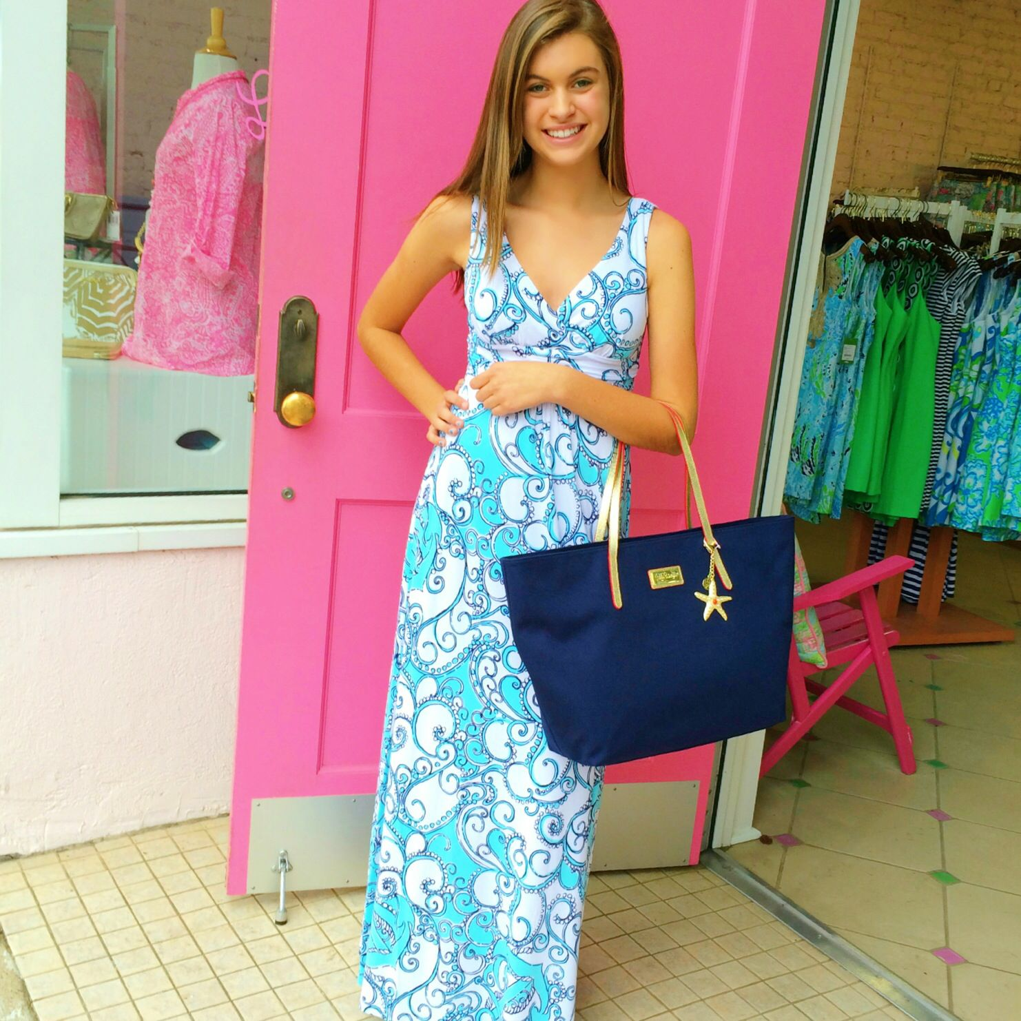 Lilly pulitzer navy blue and white maxi dress