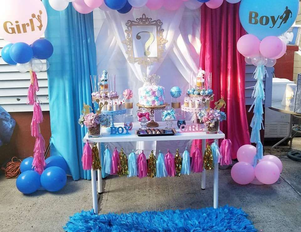 Basketball Or Cheerleader Gender Reveal He Or She Score To See Catch My Party Gender Reveal Party Decorations Gender Reveal Decorations Baby Gender Reveal Party