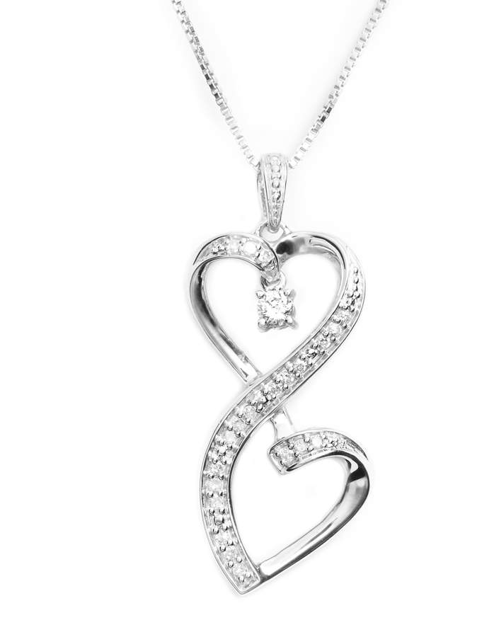 Sterling Silver Diamond Heart Love Pendant 1//6 ct