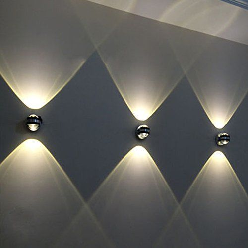 2W Aluminum Wall Lamp Warm White Modern 2 LEDs Up Down Wall Light Spot Light  Sconce Lighting For Living Room, Bedroom, Bathroom, Kitchen, Dining Room  And ...