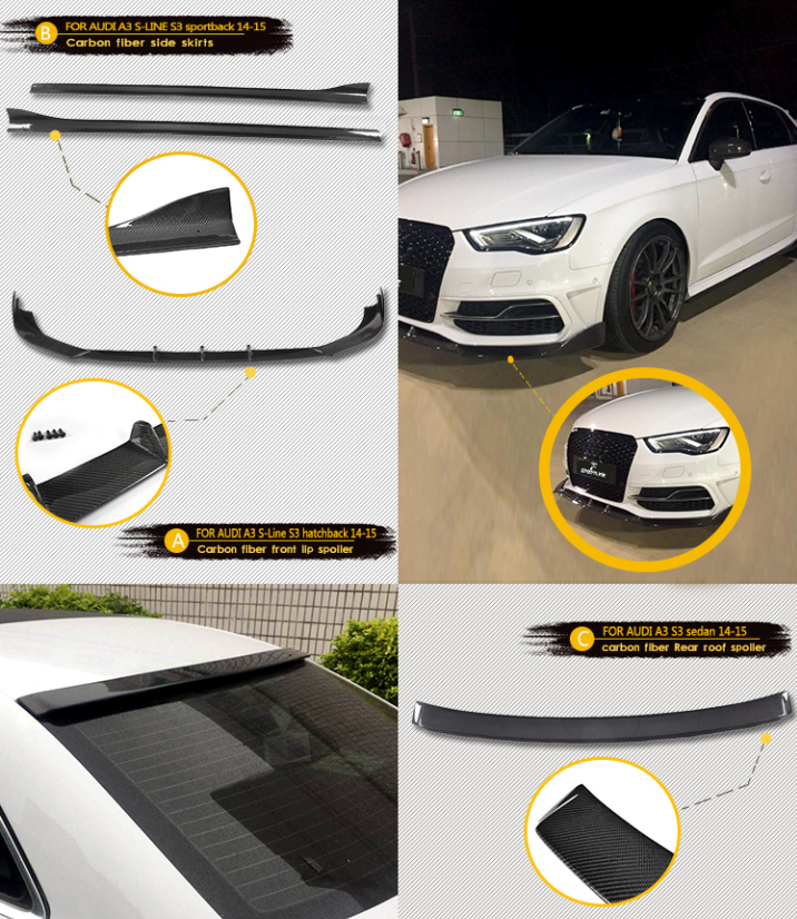 For Audi A3 S Line S3 14 15 Carbon Fiber Bodykit Audi Accessories Audi A3 Audi