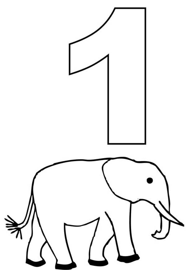 Number One And Elephant Coloring Page Netart Elephant Coloring Page Coloring Pages Inspirational Coloring Pages