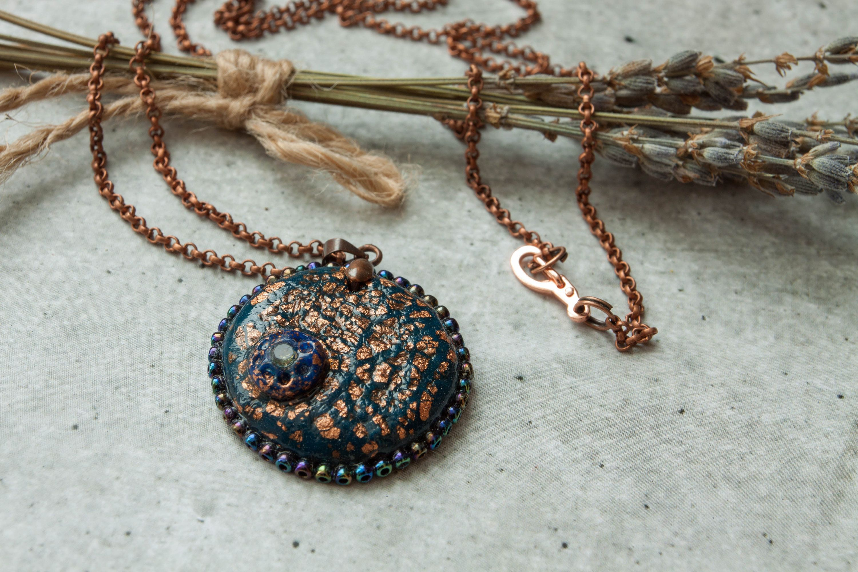 GalaxyPendant Round space necklace Universe jewelry Dark blue