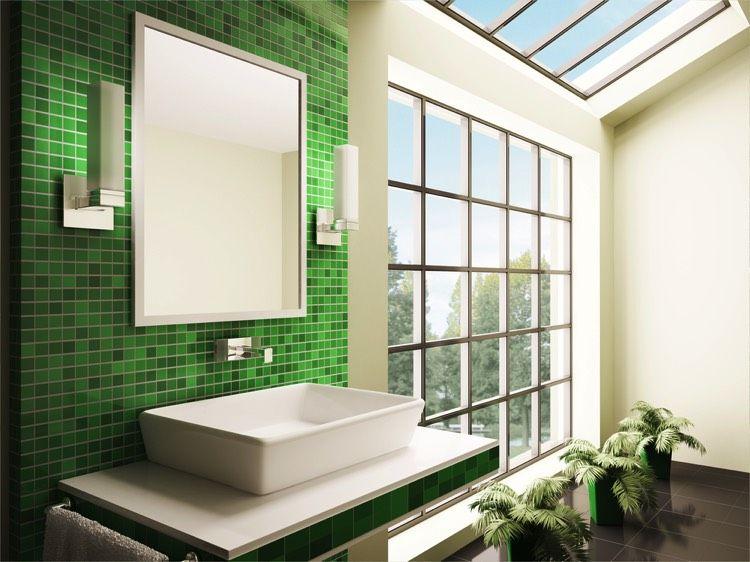 salle de bain moderne et design avec sa mosaque verte sur le plan du lavabo - Salle De Bain Mosaique Verte