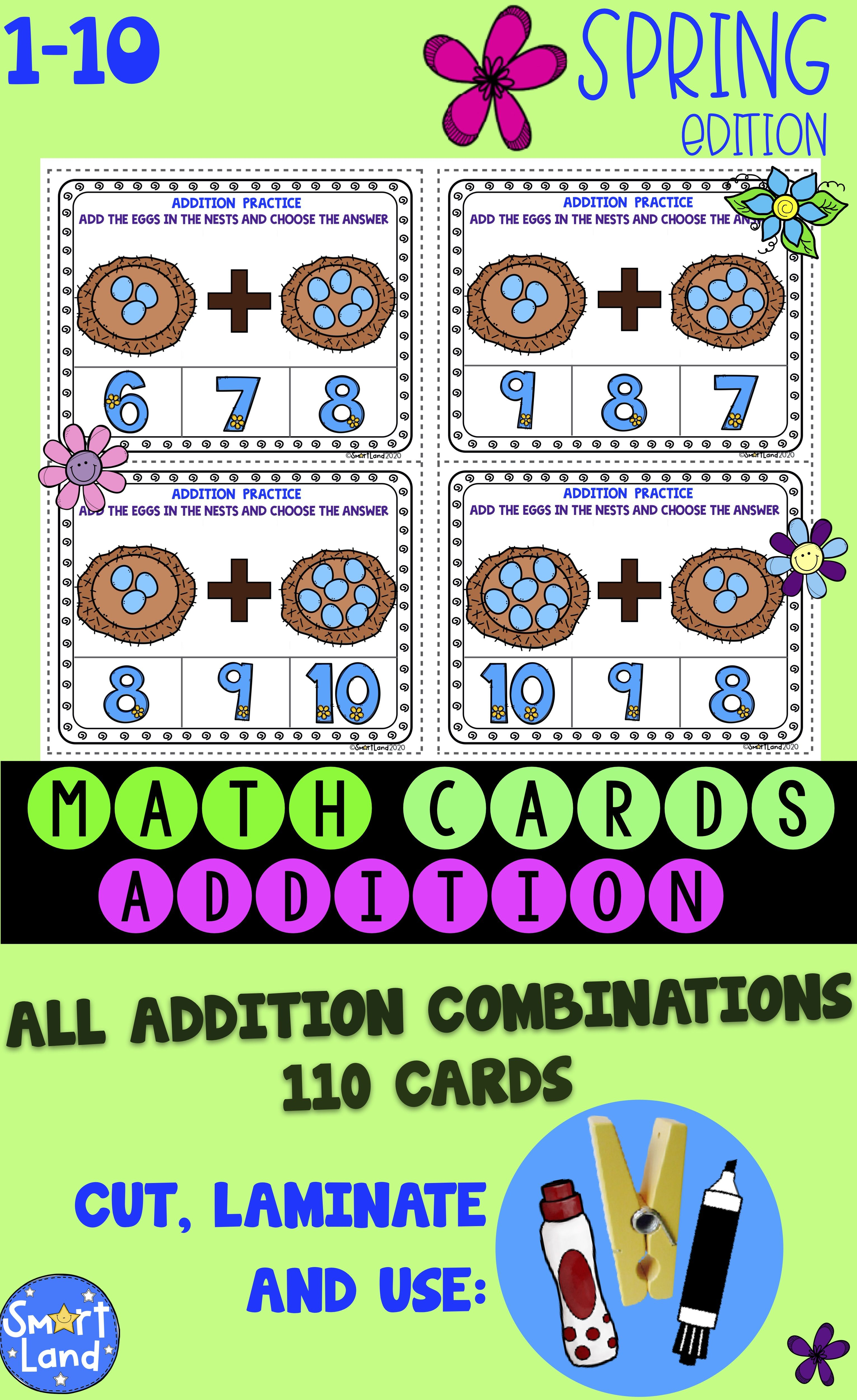 Math Cards Addition Nest Spring In With Images