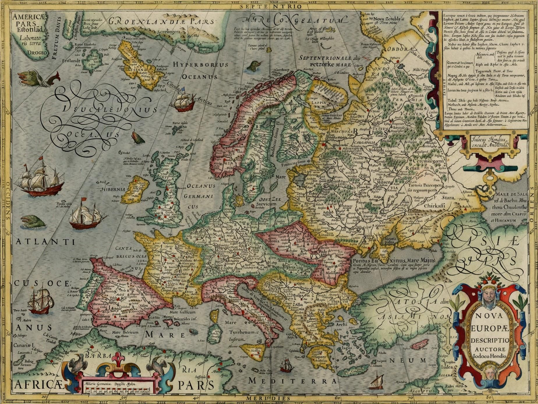 Map of Europe by Jodocus Hondius 1630 The map shows a massive