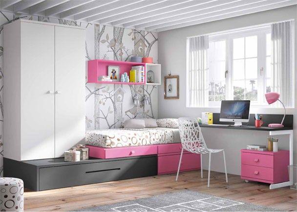 Dormitorio juvenil de linea modular con 2 camas for Muebles habitacion infantil nina