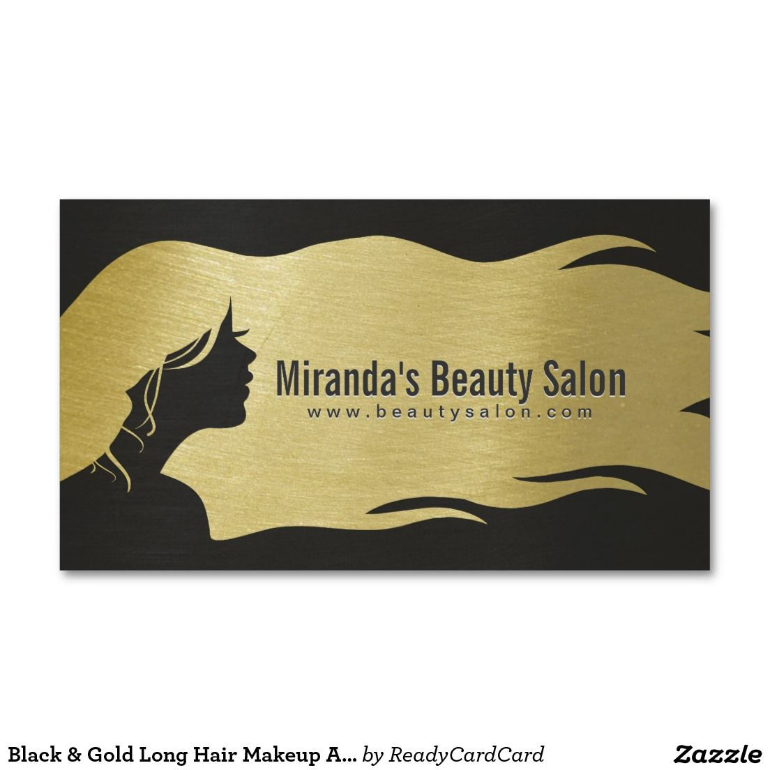 Black Gold Long Hair Makeup Artist Hair Stylist Business Card