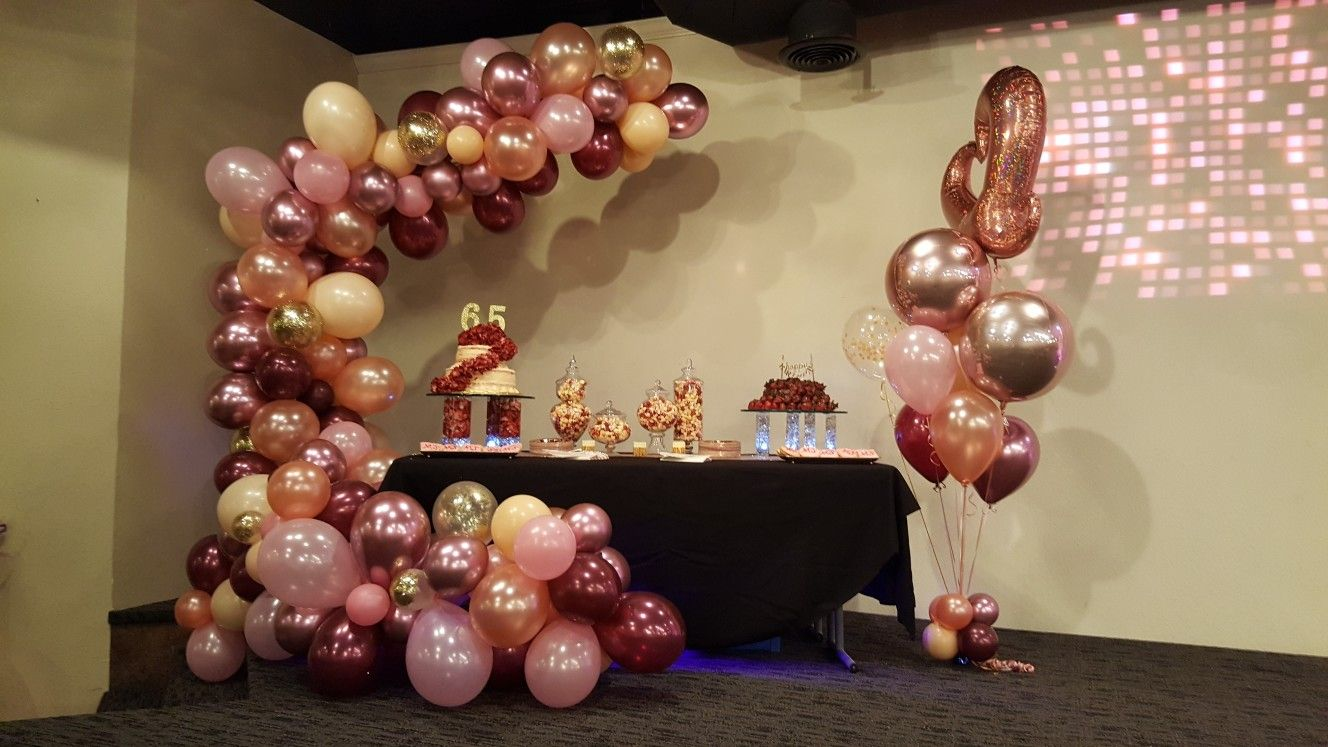 Rose Gold Cake Table Decor With Balloon Arch Cake Table Birthday Birthday Table Decorations Balloon Table Decorations