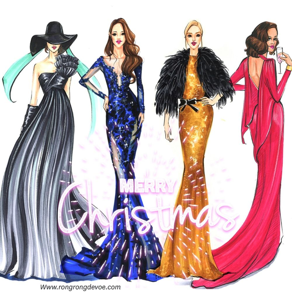 My Christmas illustrations featuring festive fashion gowns. Which one is your favorite?
