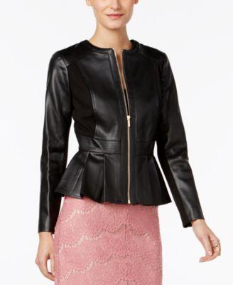 Thalia Sodi Faux Leather Peplum Jacket Created For Macy S Reviews Jackets Blazers Women Macy S Leather Peplum Blazer Jackets For Women Vegan Leather Jacket
