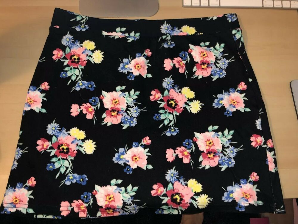 Women's Clothing Skirts So Black Floral Stretchy Mini Skirt Junior Size Xl Woman