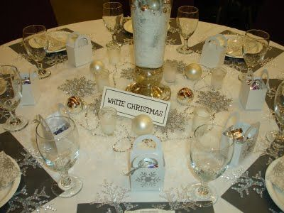 table decorations based on christmas songs love this idea