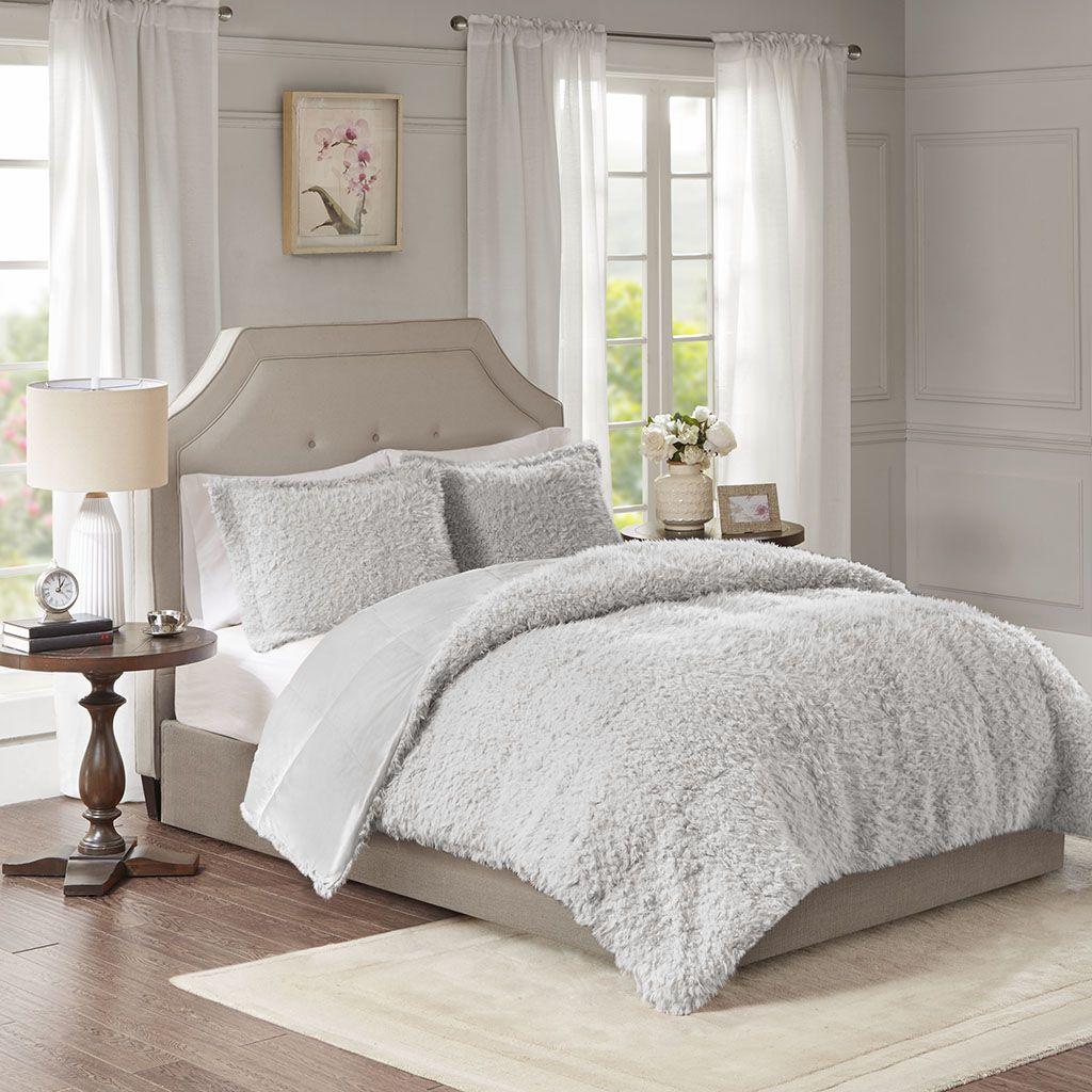 Nova King Grey Faux Mohair Reverse Faux Mink Comforter Set - Madison Park MP10-6011