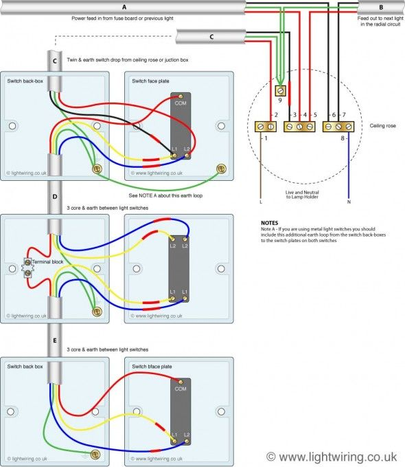 three way light switching (old cable colours) | light wiring, Wiring diagram