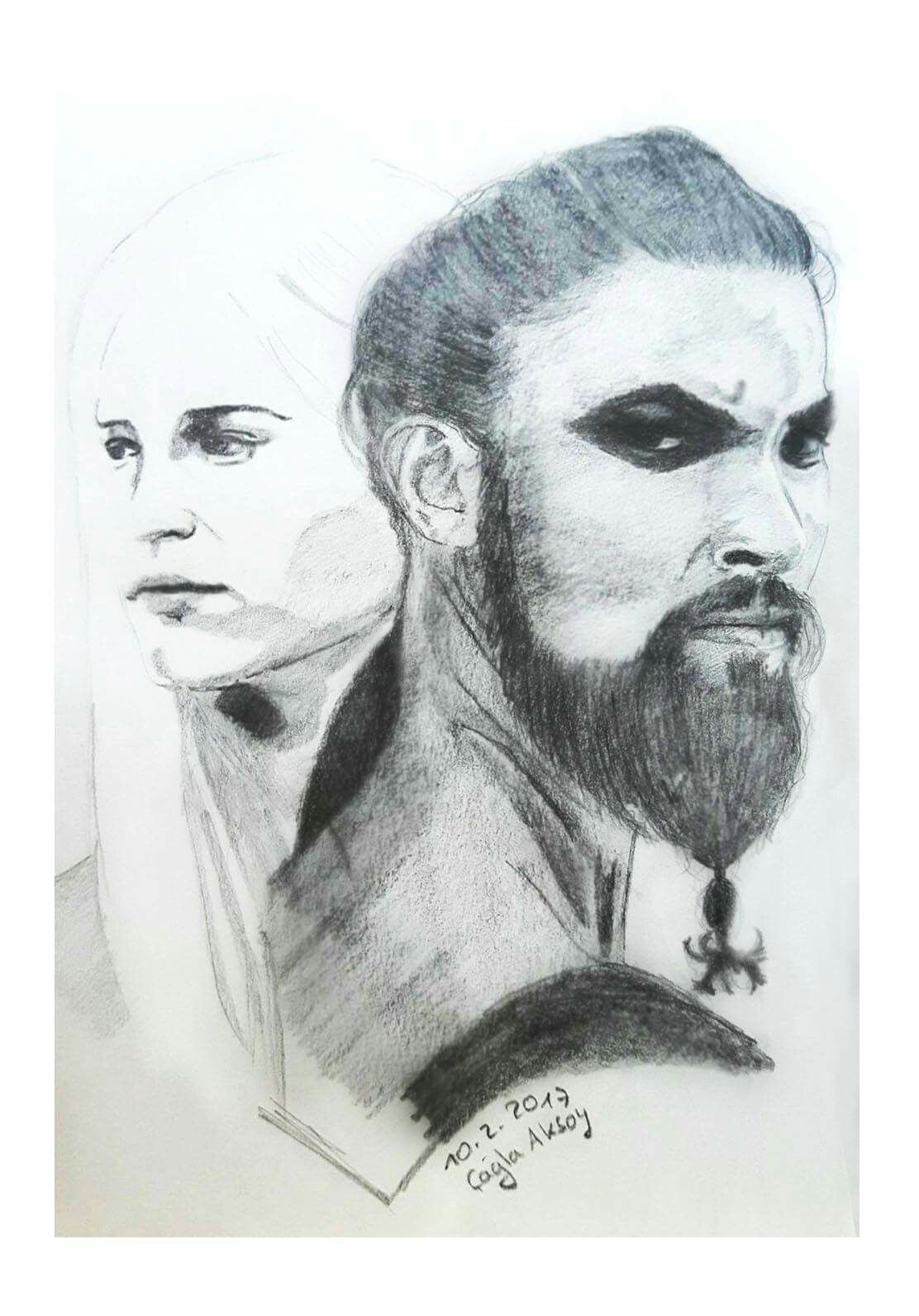 Khal drogo and khalessi from game of thrones drawing by cagla aksoy
