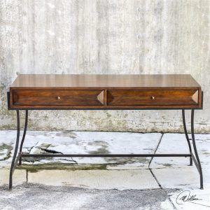 Iron & walnut desk. Office,Furniture, home, decor, design, dining, room, modern, living, contemporary.