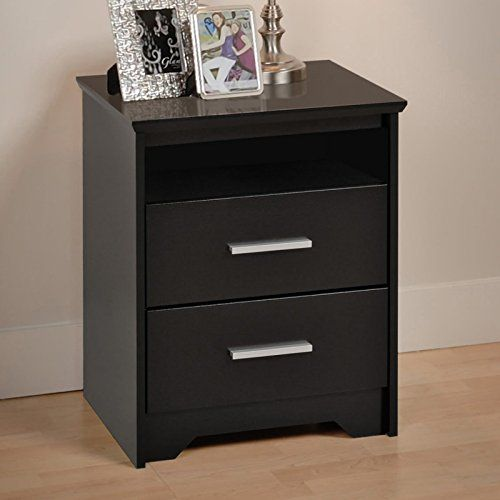Modern Two Drawer Tall Nightstand With Open Shelf Black With Two