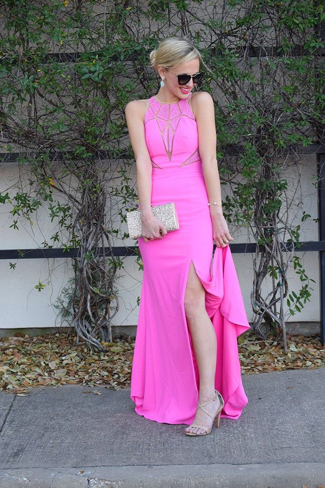 HOT PINK EVENING GOWN | Beaded prom dress, Pink evening gowns and Caviar