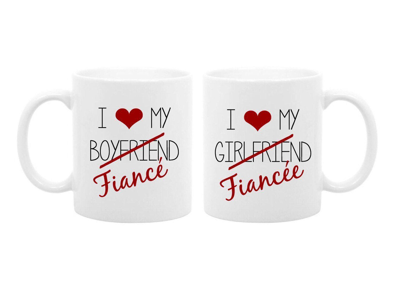 Couples Engagement Gift Coffee Mug Set