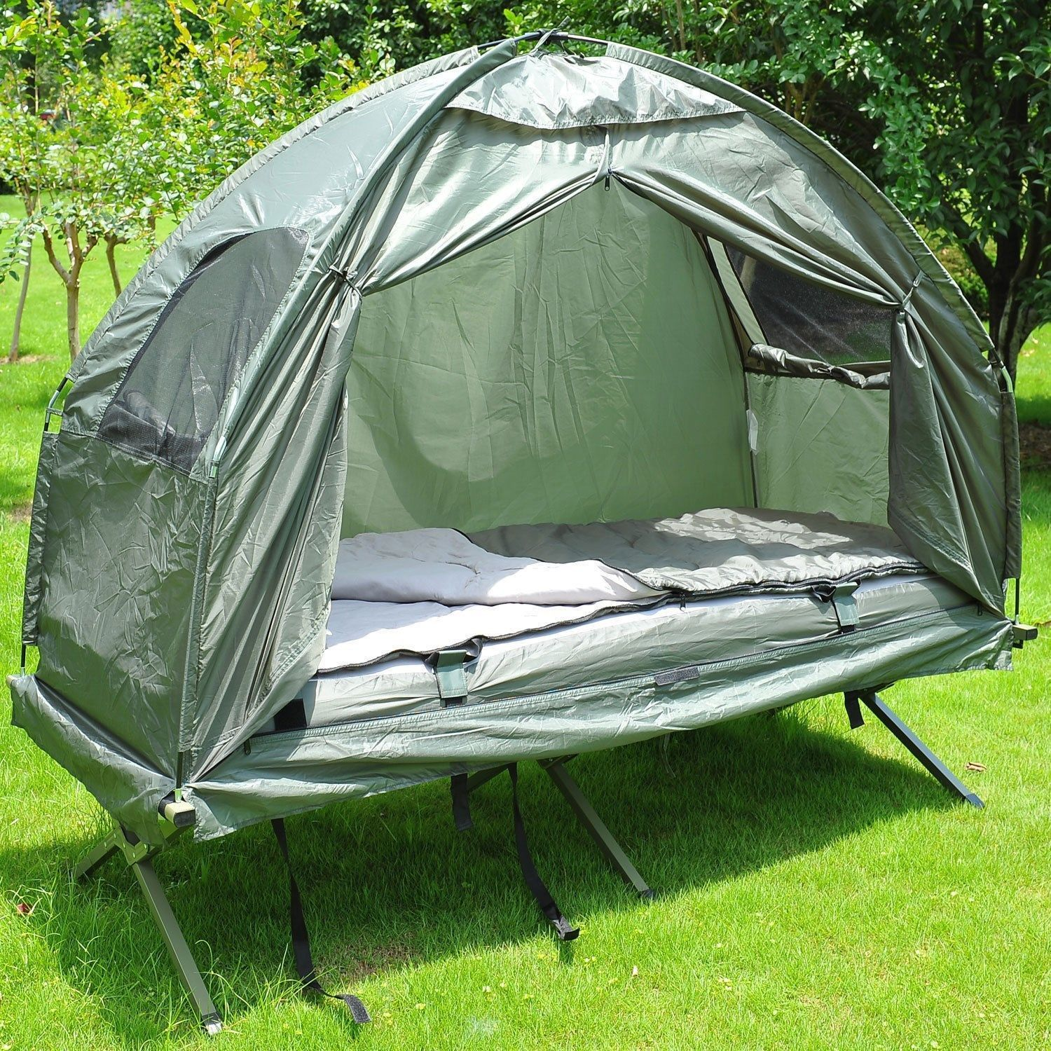 outsunny single portable camping tent bed cot w sleeping bag air