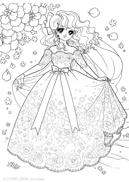 バラのししゅうのドレス 夢少女 大人のぬり絵 カラフルな絵 ぬり絵