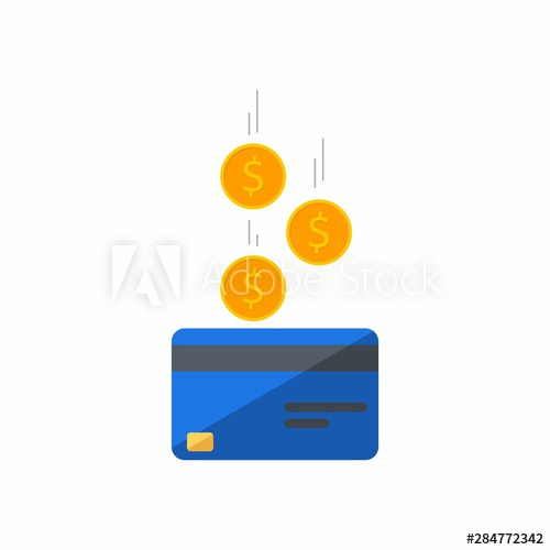 Blue Credit Card Earn Money Bank Card Coin Finance Business Vector Flat Icon Falling Coins Falling Money Flying Gold Coi Bank Card Earn Money Coins