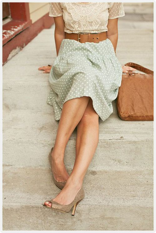 So beautiful it hurts: mint/dot skirt with neutral swiss dot lace top and accessories