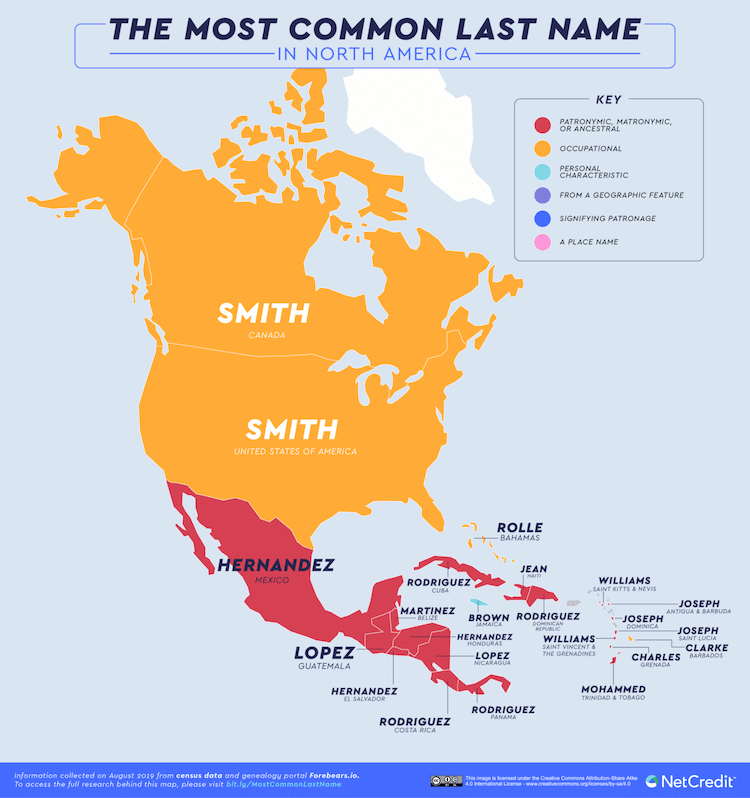 Fascinating Map Reveals The Most Common Surnames In Every Country In 2020 Popular Last Names Norse Words Map