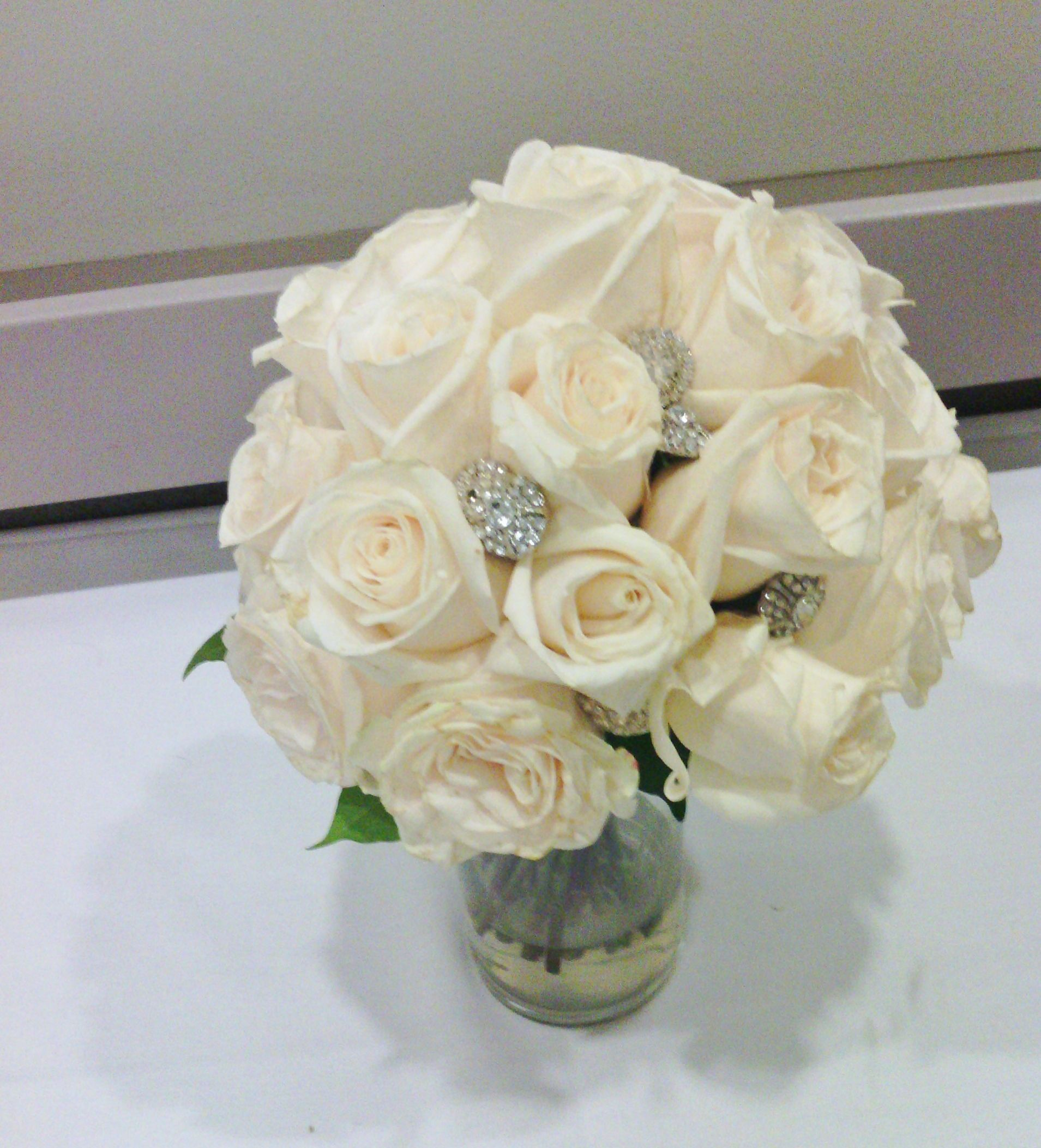 wedding bouquet bling bridal bouquet with bling white roses with large 8443