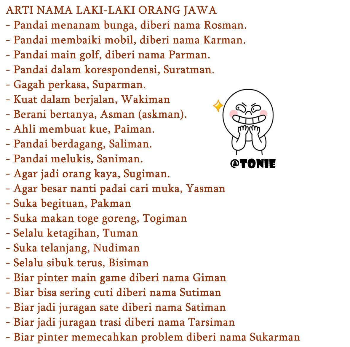 Arti Nama Dalam Bahasa Jawa Buat Sekedar Seru Seruan Doang