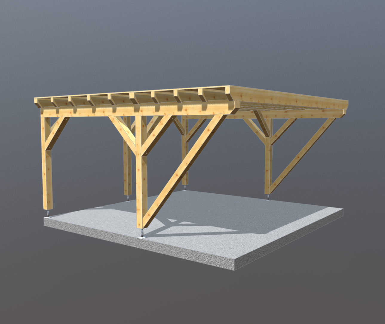 Holz carport 5m x 5m flachdach, carports aus polen