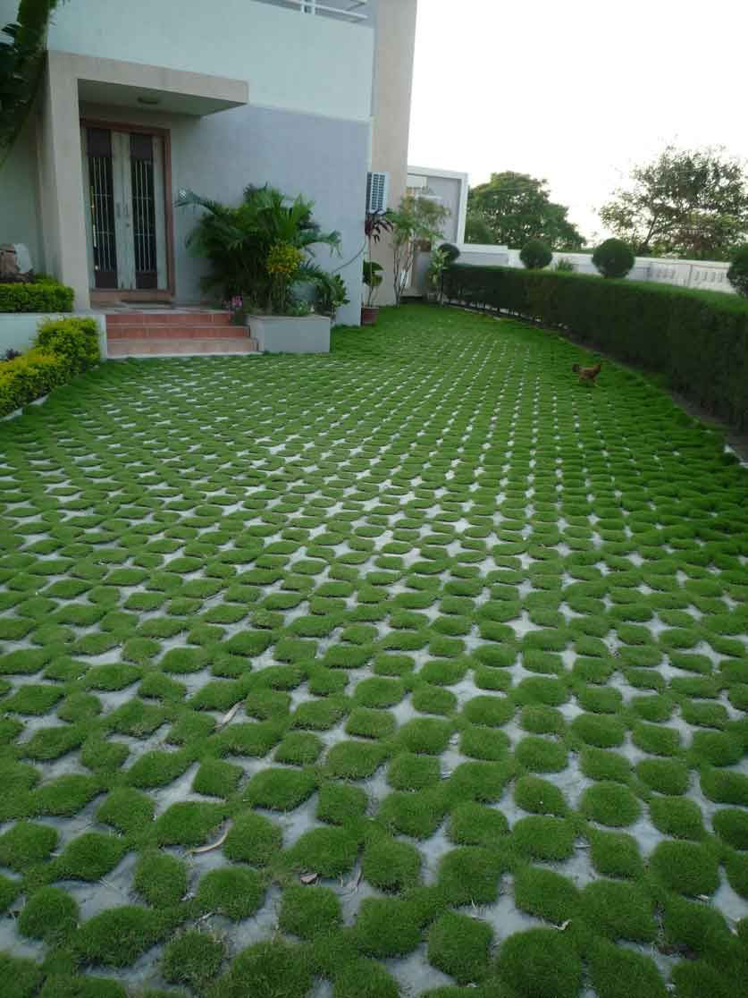 Turf paving at a farmhouse in surat outdoors lawn for Front garden block paving designs