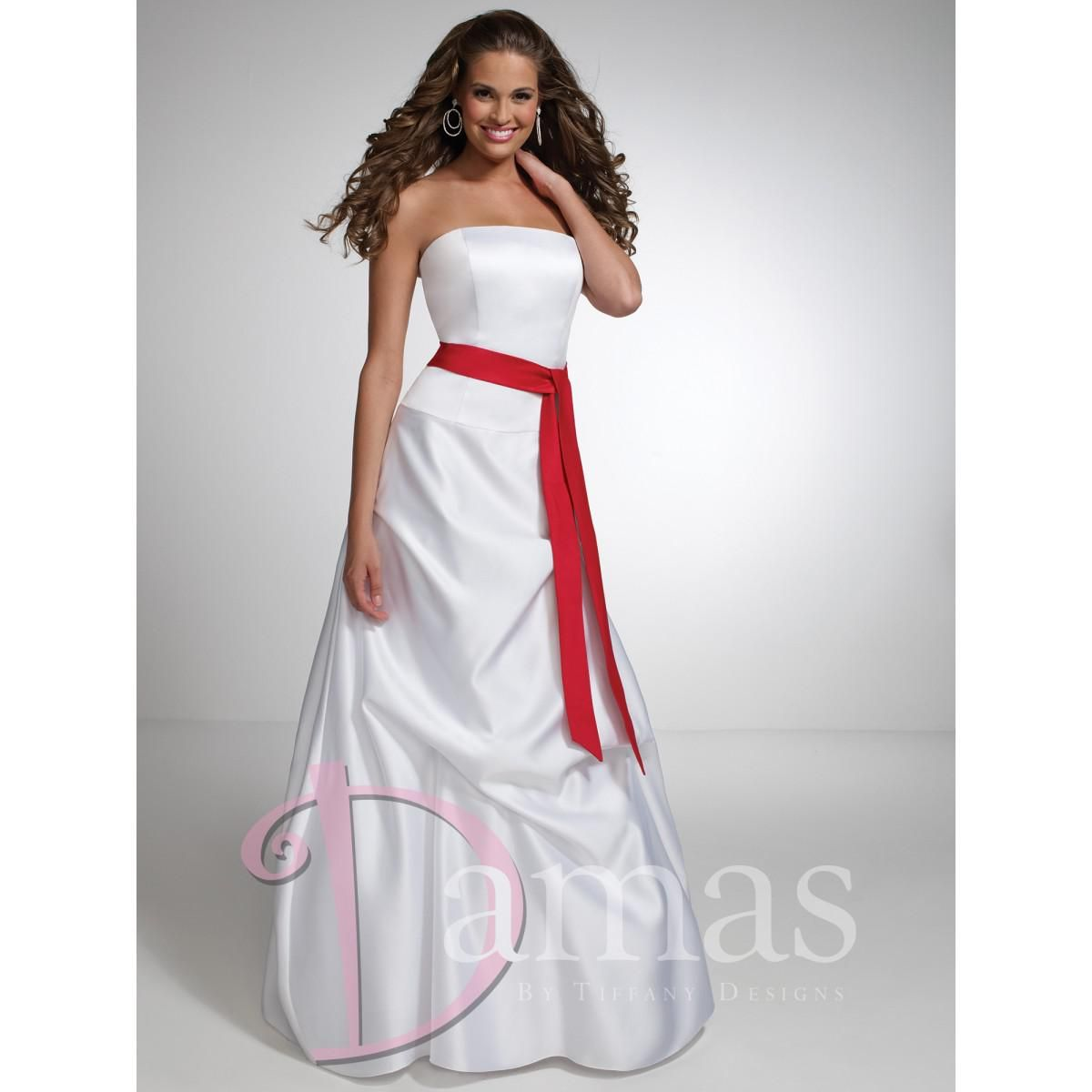 White red strapless long bridesmaid dresses sheath taffeta ruched